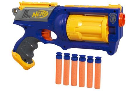 This revolver-style Nerf gun is the company's best-selling blaster of all  time. Reloading is easy: The six-dart chamber flips open for easy access to  the ...