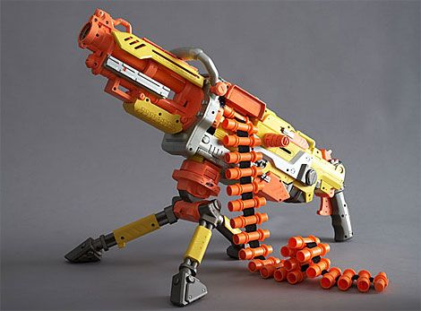 The biggest, best, most powerful Nerf gun ever. The battery-powered Vulcan  is basically a fully-automatic foam-spewing machine gun, complete with a  25-dart ...