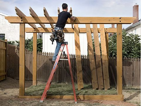 mark rafter and girder intersections to ensure evenly spaced rows - DIY Pergola Plans – How To Plan And Post A Pergola