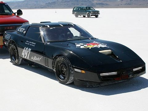 "This black Corvette ""the Beast"" makes its way to the starting line for a shot at a 230mph record."