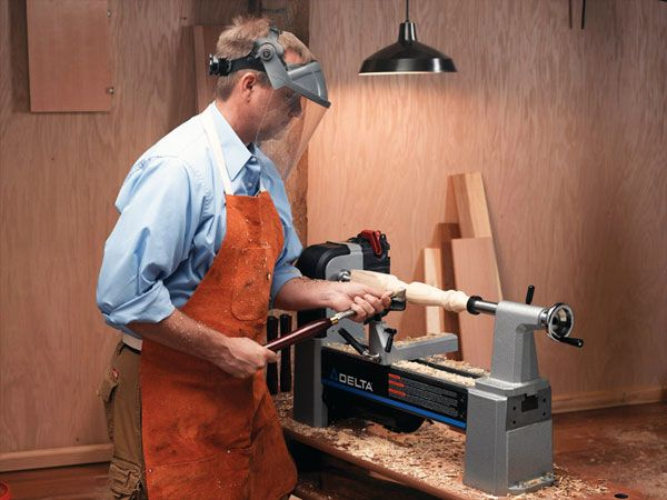 <p>A lathe spins at an incredible speed. It's a powerful tool, and totally unforgiving. It will wrap loose clothes and hair in an instant, causing extreme bodily damage. Always use proper safety equipment and roll back those sleeves.</p>