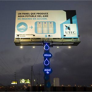 A Billboard That Condenses Water From Humidity