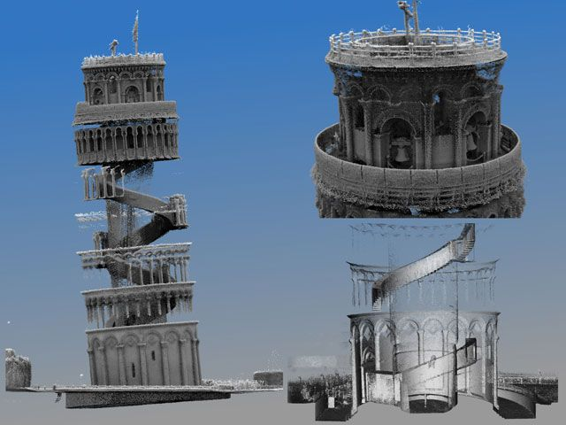 Laser Scanner Builds 3D Map of Leaning Tower of Pisa