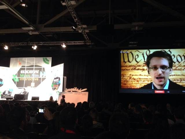 Edward Snowden Addresses SXSW 2014 Audience via Virtual Hangout