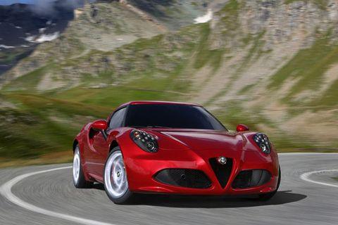 Mode of transport, Automotive design, Vehicle, Road, Automotive lighting, Performance car, Red, Car, Automotive mirror, Alfa romeo 8c competizione,
