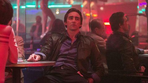 Jacket, Sitting, Leather jacket, Leather, Maroon, Top,