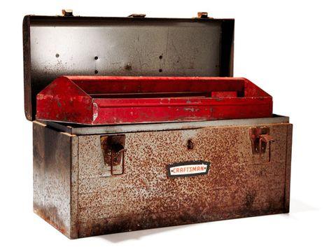 Metal, Rectangle, Trunk, Maroon, Baggage, Tan, Material property, Box, Iron, Gas,