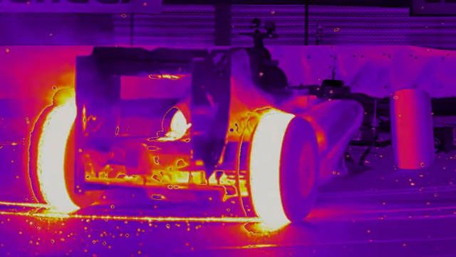 Thermal Video of a F1 Car Melting Tires is the Best Thing You'll See Today