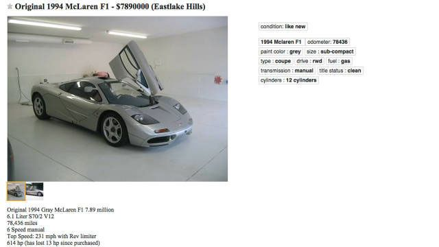 This McLaren F1 on Craigslist Seems Totally Legit