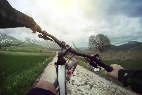 Bicycle handlebar, Highland, Bicycle, Mountain bike, Bicycle accessory, Hill, Bicycles--Equipment and supplies, Mountain range, Grassland, Hybrid bicycle,