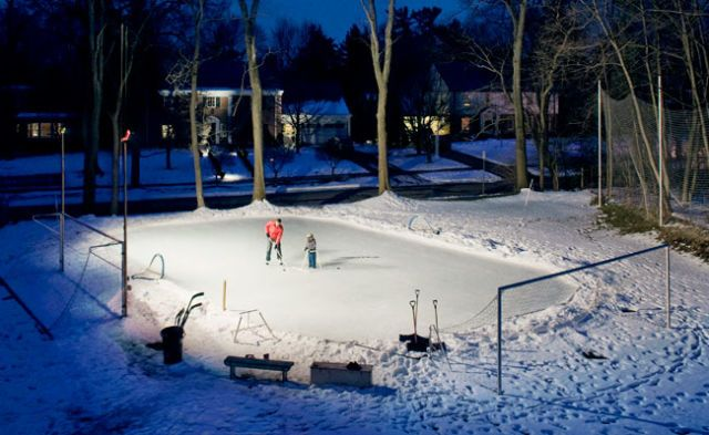Backyard ice skating rink diy hockey rink more than 175 linear feet of lumber 25 metal stakes and a 50 x 100 solutioingenieria Images