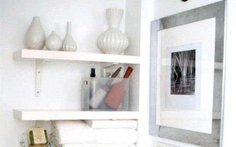 A Clever Space-Saving Bathroom Shelving Unit