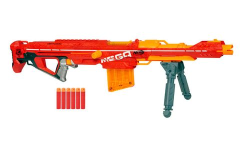 Nerf's most powerful gun can launch darts up to 100 feet. Prepare to  dominate your foes from afar.