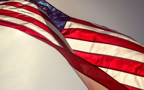 Red, Flag, Flag of the united states, Shoulder, Close-up, Muscle, Fashion accessory,