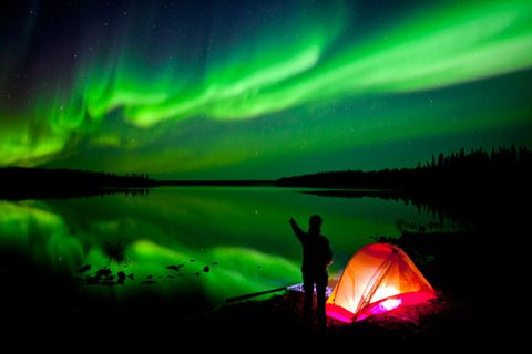 Aurora, Green, Tent, Night, Space, Star, Camping, Tints and shades, Silhouette, Astronomy,