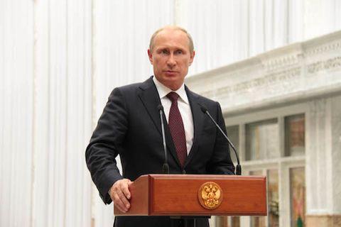 Russian President Vladimir Putin speaks during a press conference following a meeting with Ukrainian President Petro Poroshenko.