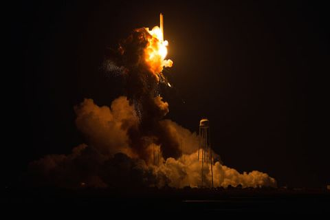 The Orbital Sciences Corporation Antares rocket, with the Cygnus spacecraft onboard suffers a catastrophic anomaly moments after launch from the Mid-Atlantic Regional Spaceport Pad 0A at NASA Wallops Flight Facility on October 28.