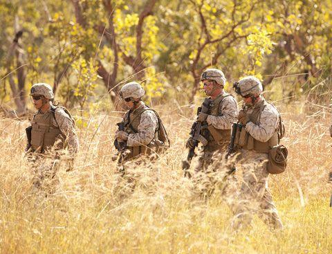 U.S. Marines participate in combat marksmanship training at the Australian Defence Force's Kangaroo Flats training area south of Darwin.