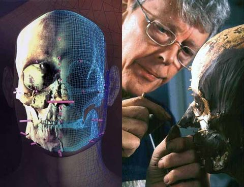 Computer models (left) and modeling clay enable Neave (right) to create a forensically acceptable facial reconstruction.