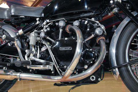 Black engine, black crankcase, black body—hence, the Shadow.