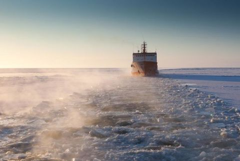 The Russian-flagged tanker vessel Renda follows a trail cut through the ice by the Coast Guard Cutter Healy.