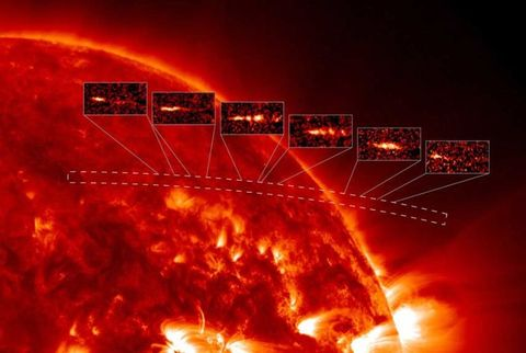 The image, showing emission from gas with temperatures around one million Kelvin, is a composite of vertical strips following the motion of the comet as it descends into the solar corona to the point of destruction.