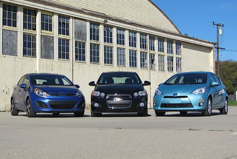 Subcompact Showdown Chevy Sonic Vs Kia Rio Vs Toyota Prius