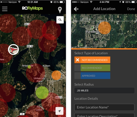 Screenshot of RCFlyMaps, an app intended to keep drones away from airplanes.