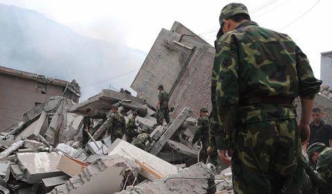 China earthquake rubble