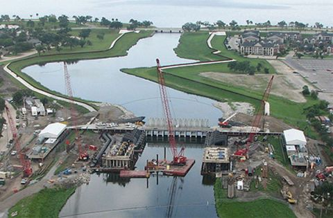 Two years after Katrina forced three breaches in the floodwalls at the London Avenue Outfall Canal near New Orleans's Lake Pontchartrain, the Corps says it is nearing completion on repairs there, with armored tie-ins and 12 temporary pumps in place.