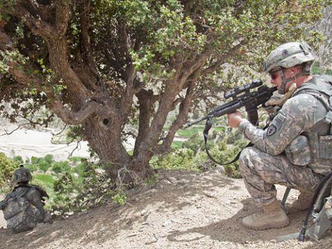 Soldier, Military person, Military uniform, Military camouflage, Gun, Firearm, Machine gun, Army, Shooting, Helmet,