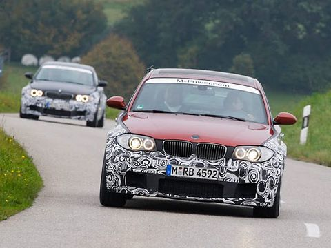 2012 BMW 1-Series M Coupes on country roads north of Munich.