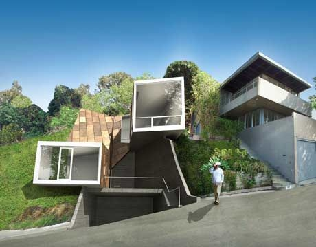 View of the Vail Grant House, a highly innovative, angular prefabricated house.