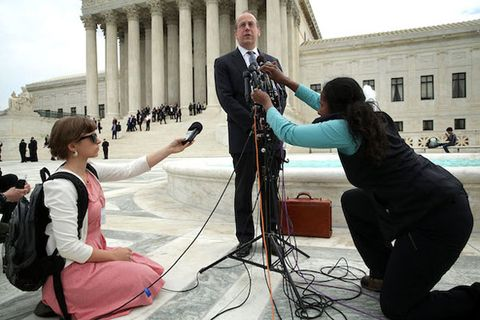 Paul Clement, the attorney for the broadcasters, speaks to members of the media in front of the U.S. Supreme Court after oral arguments in their case against Aereo, Inc.