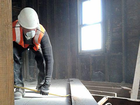 Window, Helmet, Floor, Personal protective equipment, Headgear, Workwear, Concrete, Composite material, Hard hat, Daylighting,