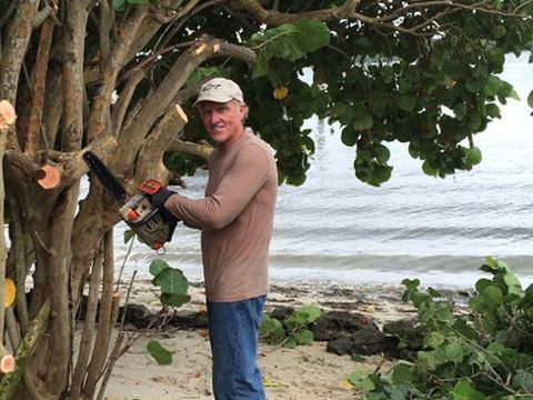 People in nature, Woody plant, Cap, Baseball cap, Fruit, Beach, Produce, Tropics, Fruit tree,