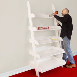 Ladder Bookshelf Plans Ladder shelf step by step plans ladder shelf plans get the upper hand on clutter by building this ladder shelf full plans and a step by step guide sisterspd
