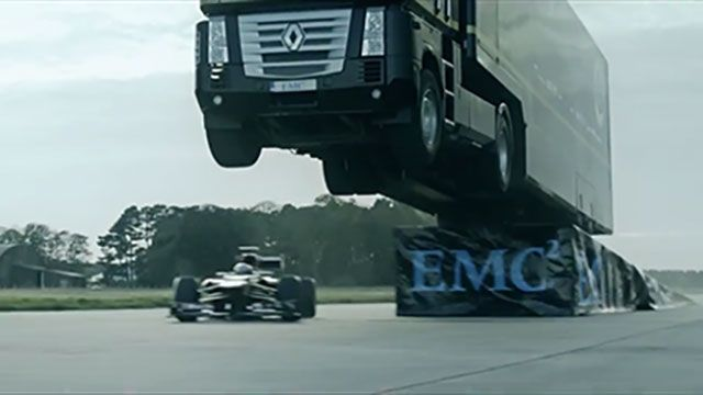 Watch a Semi-Truck's Insane World-Record Jump Over a Lotus F1 Car