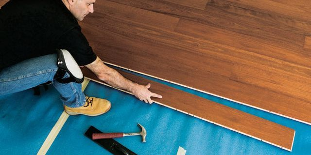 this floating floor is installed over a thin foam rubber pad the 6ft