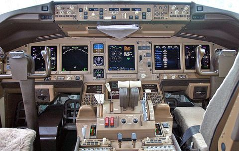 Malaysia Airlines 777 cockpit.