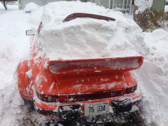 Man Attempts to Brave the Buffalo Blizzard in His Porsche '81 911 Turbo