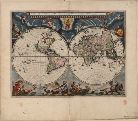 1664 world map by J.Bleau.