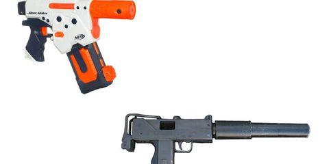 Gun, Product, Firearm, Trigger, Line, Orange, Black, Gun accessory, Tan, Air gun,