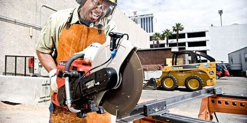 Helmet, Workwear, Personal protective equipment, Hard hat, Machine, Engineering, Concrete saw, Service, Saw, Engineer,