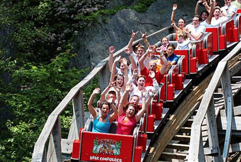 Fun, People, Social group, Recreation, Leisure, Red, Roller coaster, Crowd, Summer, Tourism,