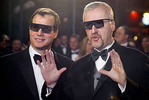 Director James Cameron (R) and Bill Paxton wearing 3D glasses.