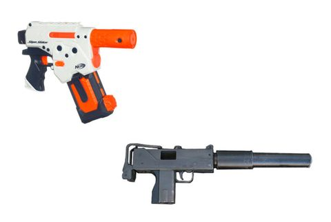 Gun, Product, Firearm, Trigger, Line, Orange, Black, Gun accessory, Tan, Air gun,