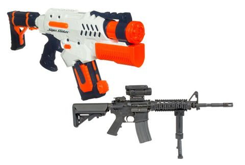 Gun, Firearm, Red, Orange, Line, Trigger, Machine gun, Black, Air gun, Water gun,