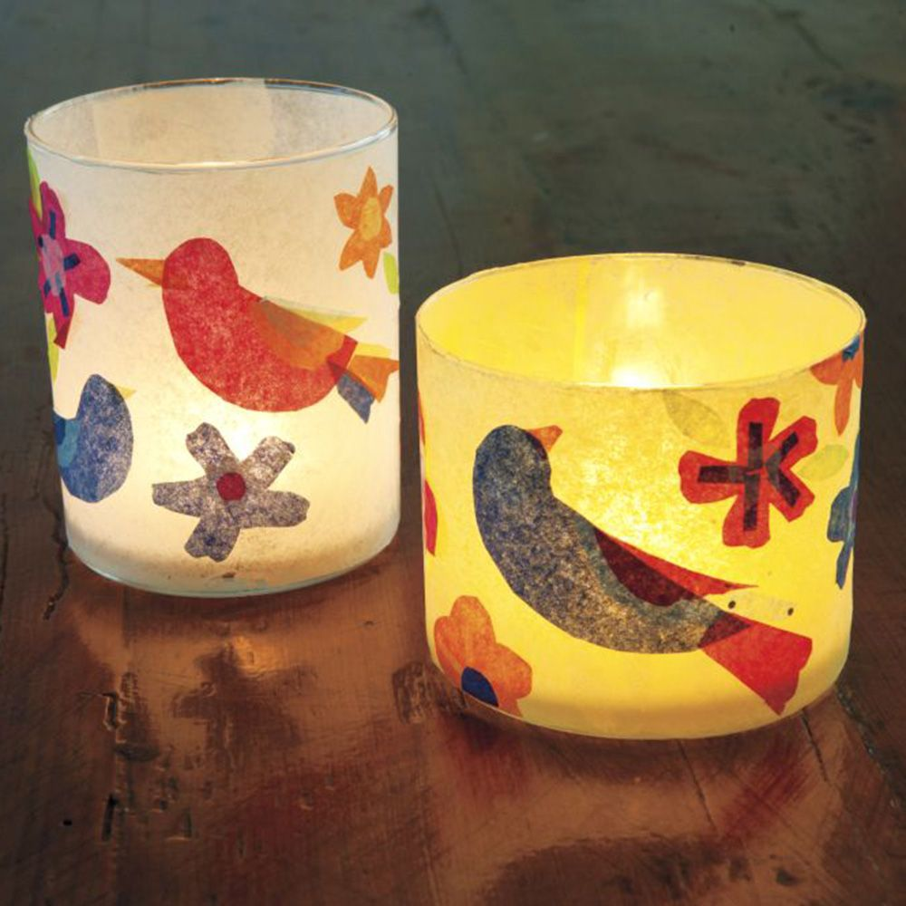 Decoupage Tea Lights With Colourful Tissue Paper
