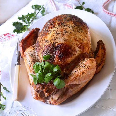 Roast turkey with sausage celeriac and shallot stuffing